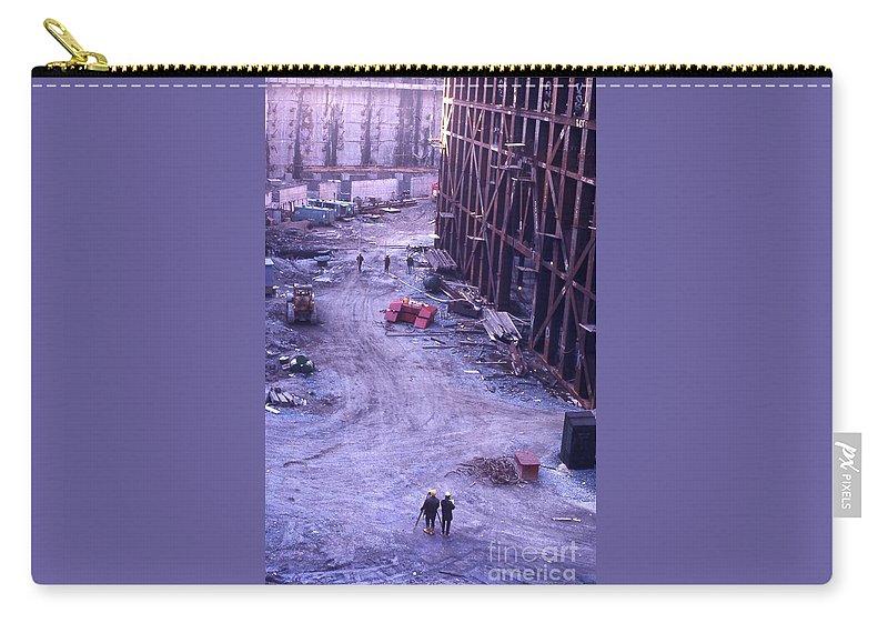 World Trade Center Construction 1967 Carry-all Pouch featuring the photograph World Trade Center Under Construction 1967 by Bob Bennett