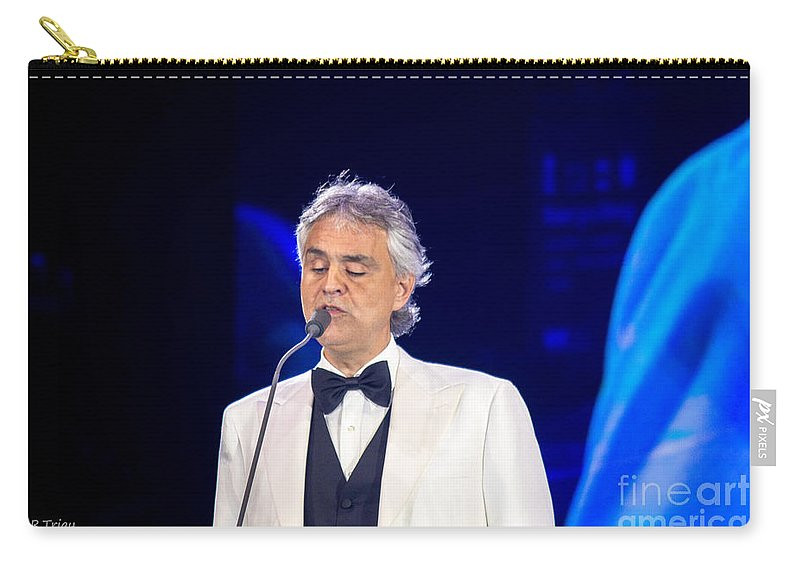 Andrea Bocelli Carry-all Pouch featuring the photograph Andrea Bocelli In Concert by Rene Triay Photography