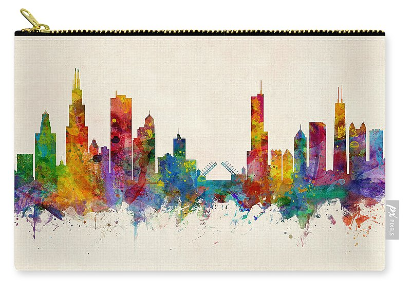 Chicago Carry-all Pouch featuring the digital art Chicago Illinois Skyline by Michael Tompsett