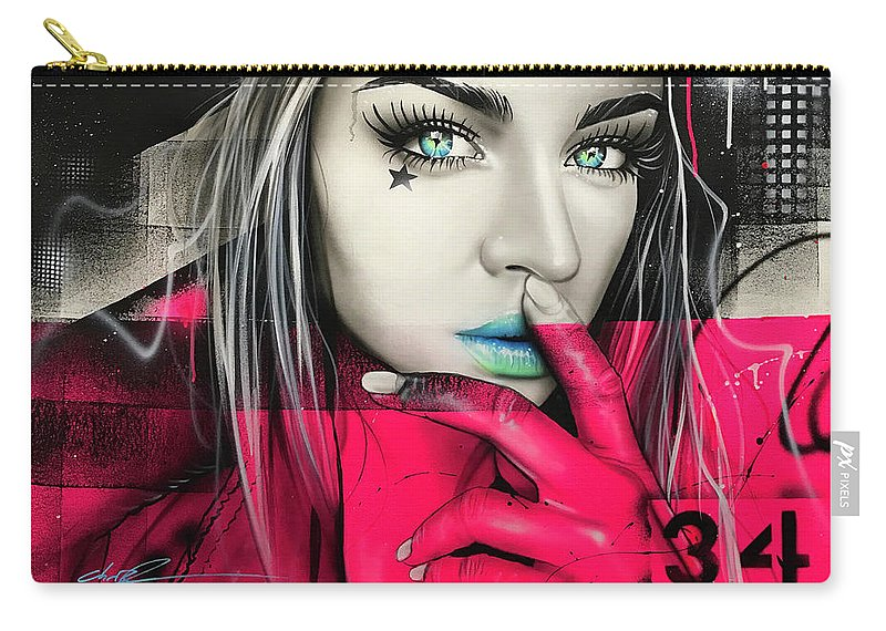 Street Life Carry-all Pouch featuring the painting 34 Dj Girl by Christian Chapman Art