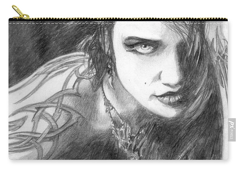 Tattoo Carry-all Pouch featuring the drawing 34 by Kristopher VonKaufman