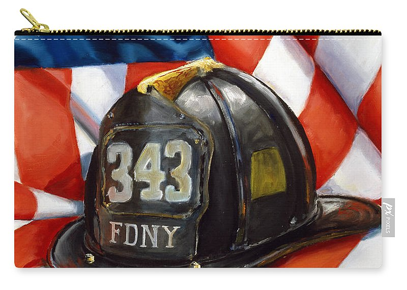 American Flag Carry-all Pouch featuring the painting 343 by Paul Walsh