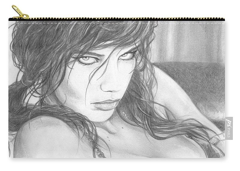 #adrianalima Carry-all Pouch featuring the drawing Pout by Kristopher VonKaufman