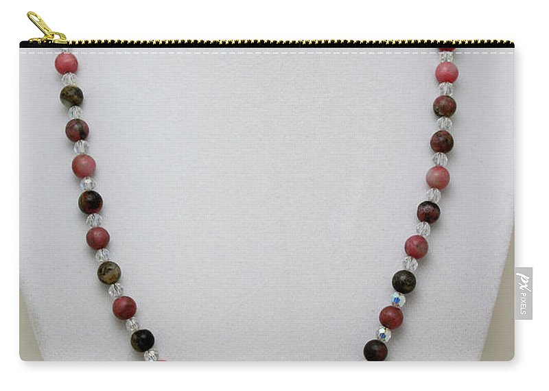 Handmade Carry-all Pouch featuring the jewelry 3541 Rhodonite And Jasper Necklace by Teresa Mucha