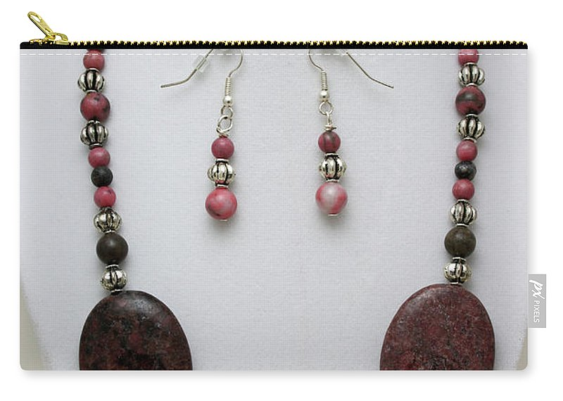Handmade Carry-all Pouch featuring the jewelry 3544 Rhodonite Necklace Bracelet And Earring Set by Teresa Mucha