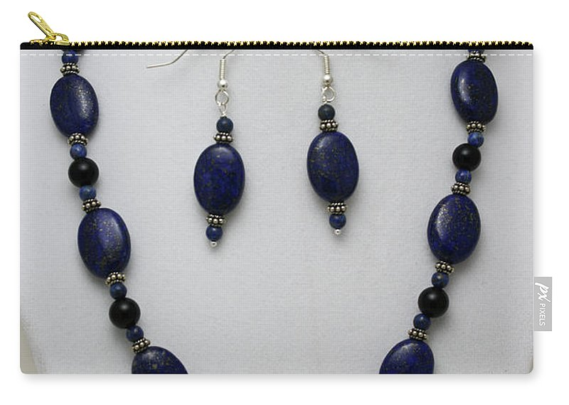 Handmade Carry-all Pouch featuring the jewelry 3555 Lapis Lazuli Necklace And Earring Set by Teresa Mucha