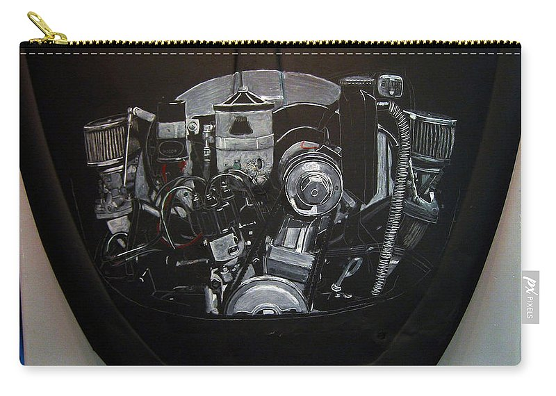 Vw Carry-all Pouch featuring the painting 356 Porsche Engine On A Vw Cover by Richard Le Page