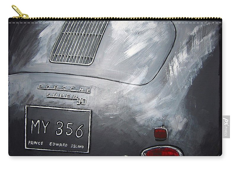 Car Carry-all Pouch featuring the painting 356 Porsche Rear by Richard Le Page