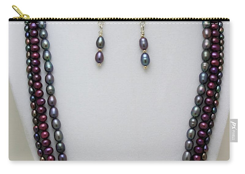 Handmade Carry-all Pouch featuring the jewelry 3562 Triple Strand Freshwater Pearl Necklace Set by Teresa Mucha