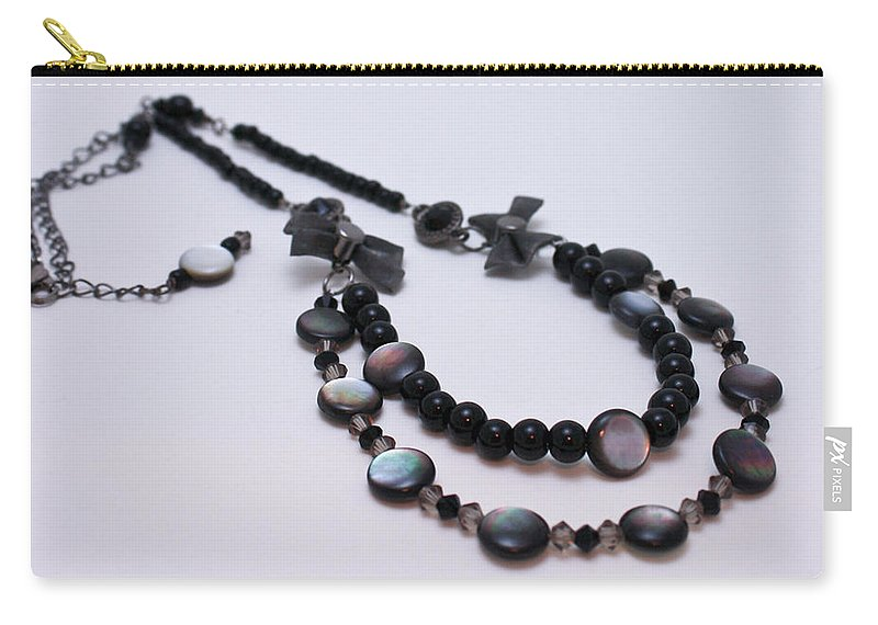 Necklace Carry-all Pouch featuring the jewelry 3587 Fun Gunmetal Necklace by Teresa Mucha