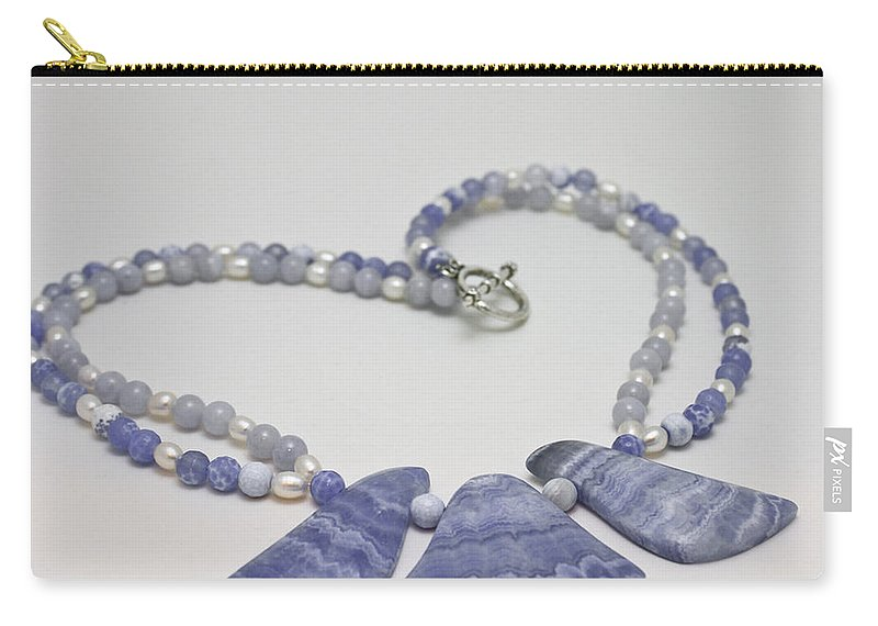 Original Carry-all Pouch featuring the jewelry 3588 Blue Banded Agate Necklace by Teresa Mucha