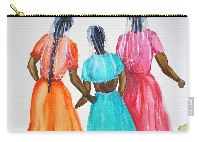 Three Ladies East Indian Carry-all Pouch featuring the painting 3bff by Karin Dawn Kelshall- Best
