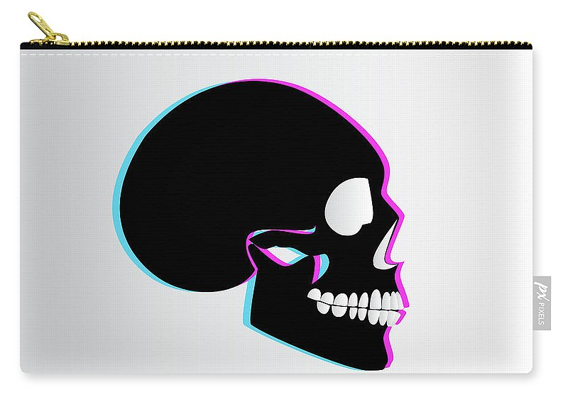 3d Carry-all Pouch featuring the digital art 3d Skull Icon Background Side On by Tea Brncic