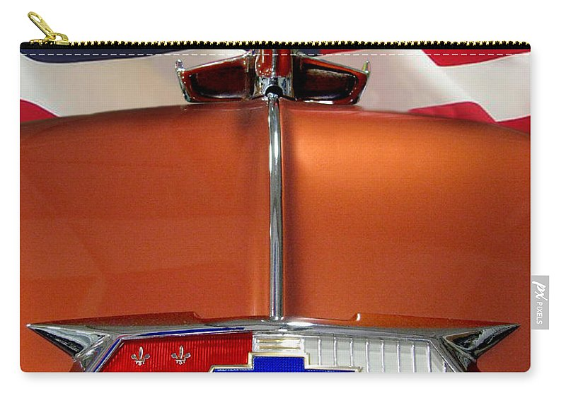 1954 Chevrolet Carry-all Pouch featuring the photograph 1954 Chevrolet Hood Emblem by Peter Piatt