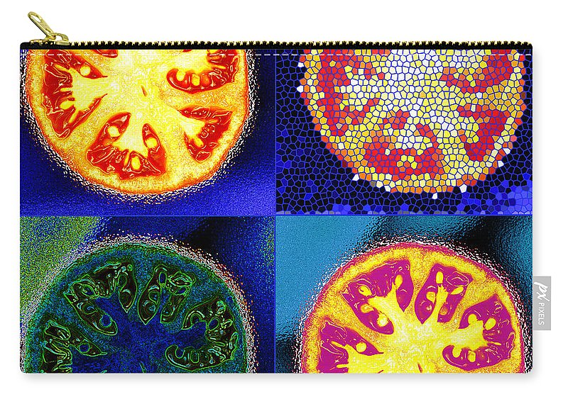 Tomatoes Carry-all Pouch featuring the photograph 4 Abstract Tomatoes by Nancy Mueller