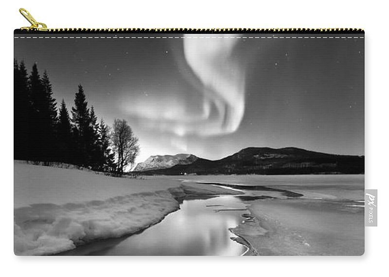 Aurora Borealis Carry-all Pouch featuring the photograph Aurora Borealis Over Sandvannet Lake by Arild Heitmann