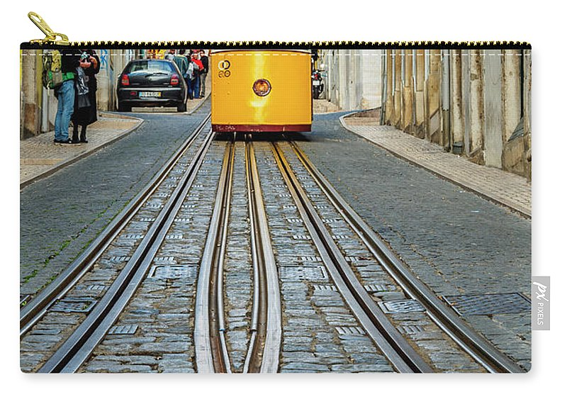 Bica Carry-all Pouch featuring the photograph Bica Funicular, Lisbon, Portugal by Karol Kozlowski