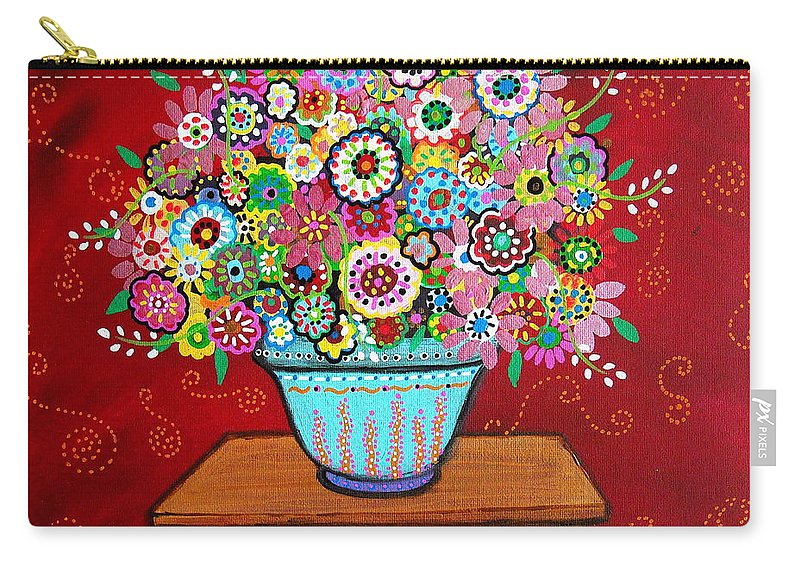 Flower Carry-all Pouch featuring the painting Blooms by Pristine Cartera Turkus