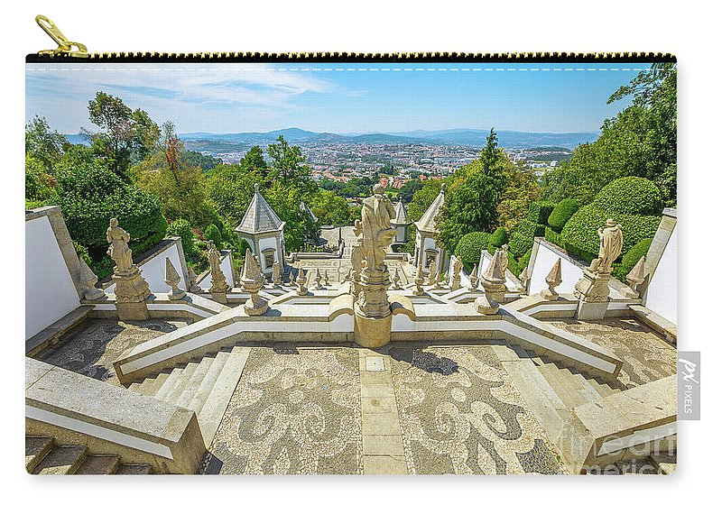 Braga Carry-all Pouch featuring the photograph Bom Jesus Staircase Braga by Benny Marty