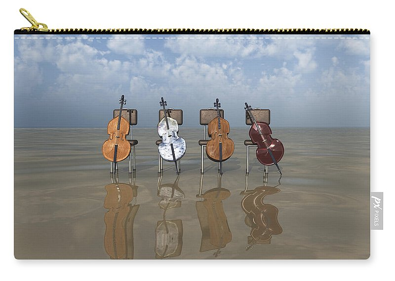 Cello Carry-all Pouch featuring the digital art 4 Cellos... - 4 Violoncelles... by R Fafard