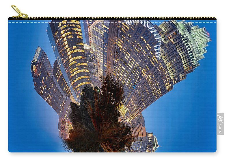 Digital Carry-all Pouch featuring the photograph Charlotte Skyline Mini Planet by Alex Grichenko
