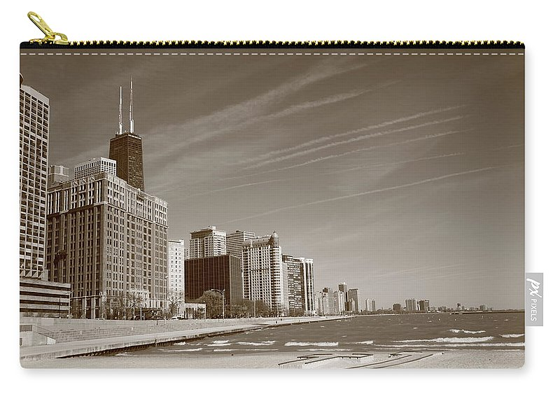 America Carry-all Pouch featuring the photograph Chicago Skyline And Beach by Frank Romeo