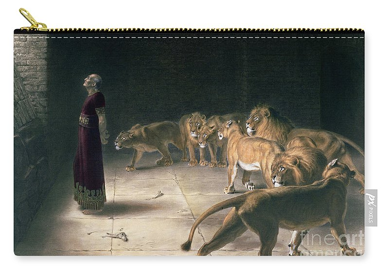 Daniel In The Lions Den Carry-all Pouch featuring the painting Daniel In The Lions Den 4 by Briton Riviere