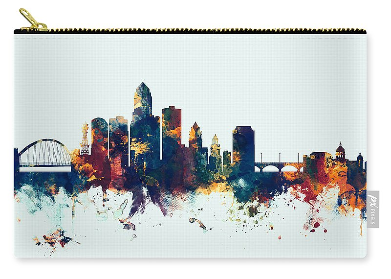 United States Carry-all Pouch featuring the digital art Des Moines Iowa Skyline by Michael Tompsett