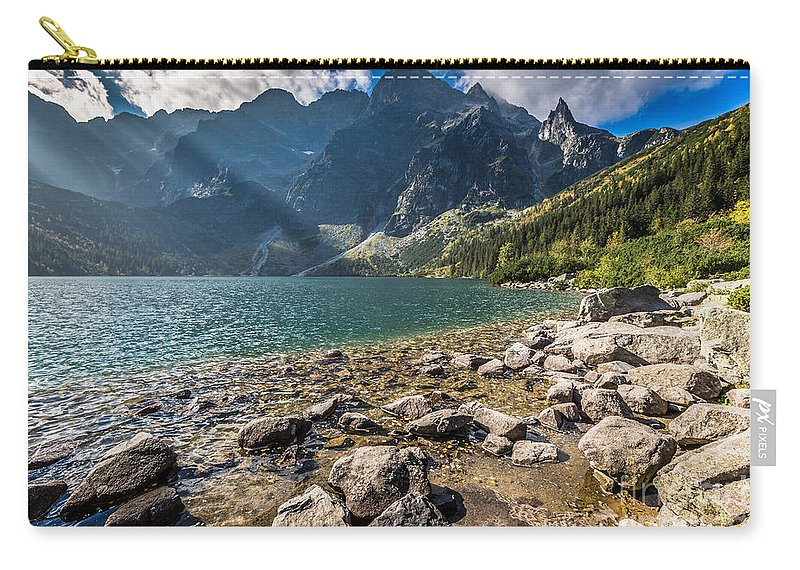 Hill Carry-all Pouch featuring the photograph Green Water Mountain Lake Morskie Oko, Tatra Mountains, Poland by Mariusz Prusaczyk