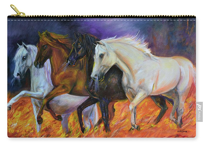 Horse Carry-all Pouch featuring the painting 4 Horses Of The Apocalypse by Olga Kaczmar