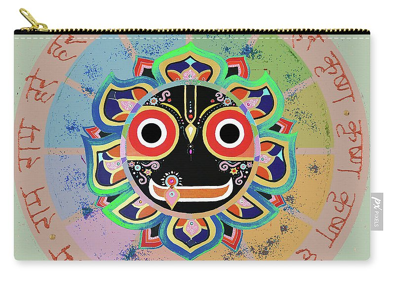 Jagannath Art Carry-all Pouch featuring the mixed media Jagannath by Sandra Petra Pintaric