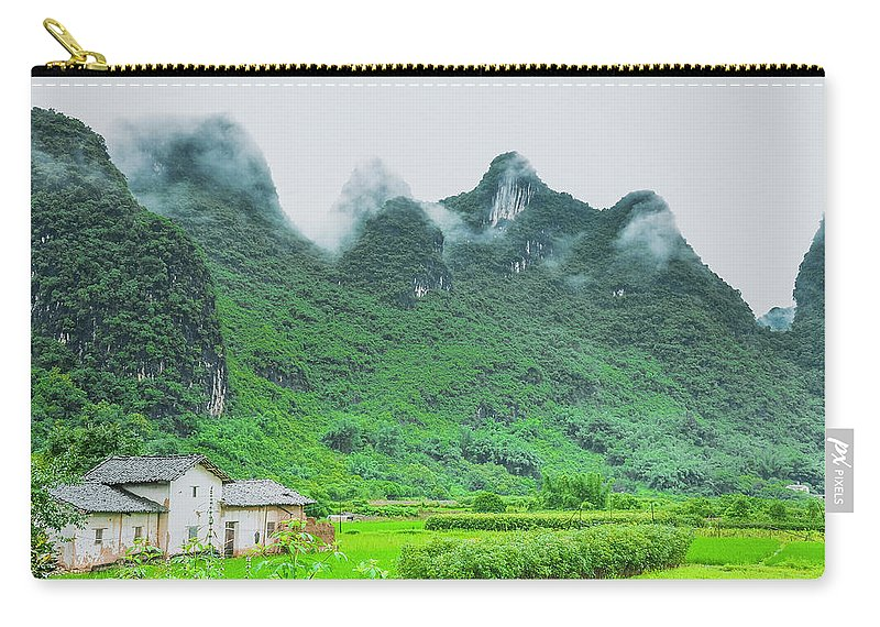 Countryside Carry-all Pouch featuring the photograph Karst Mountains Rural Scenery by Carl Ning