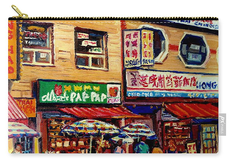 Montreal China Town Carry-all Pouch featuring the painting Montreal Paintings by Carole Spandau