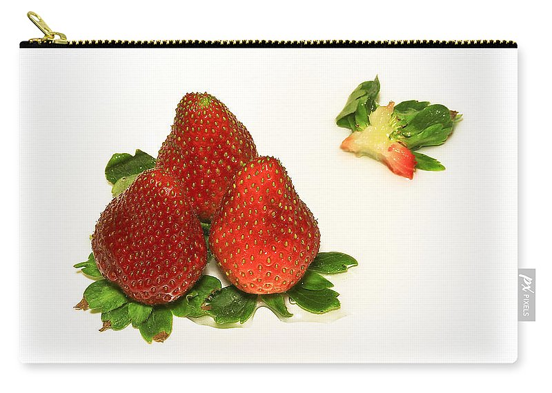 Strawberry Carry-all Pouch featuring the photograph 4... No... 3 Strawberries by Evelina Kremsdorf