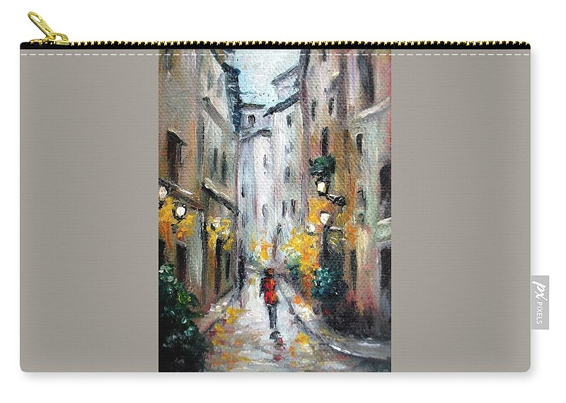 Rain Carry-all Pouch featuring the painting Rain Fantasy aceo painting by Natalja Picugina