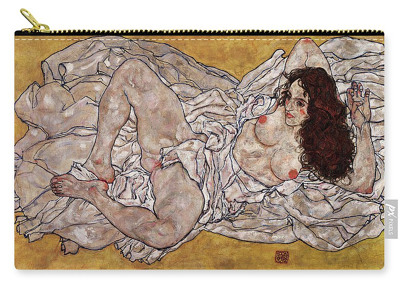 Egon Schiele Carry-all Pouch featuring the painting Reclining Woman by Egon Schiele
