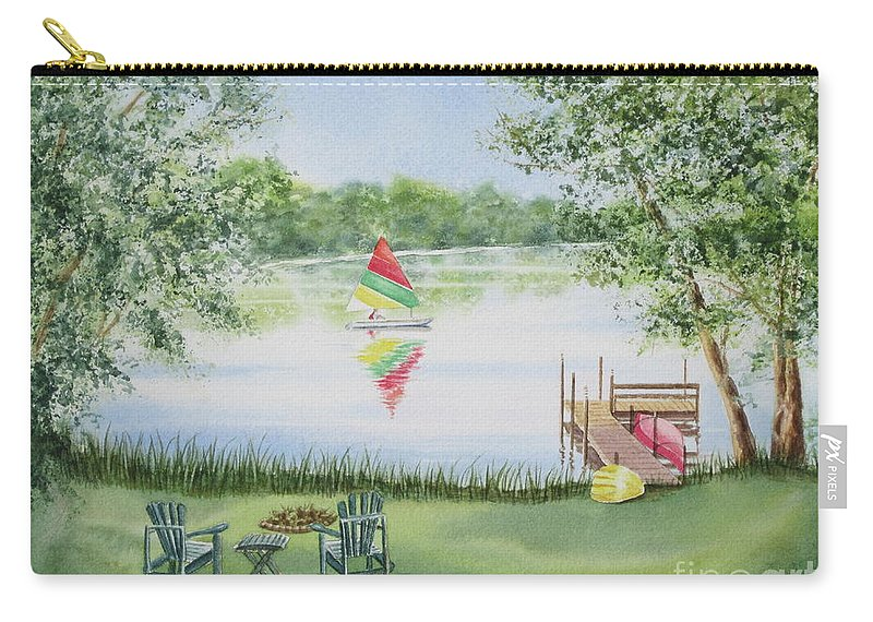 Lake Carry-all Pouch featuring the painting 4 Seasons-summer by Deborah Ronglien