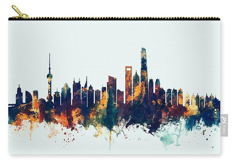 Shanghai Carry-all Pouch featuring the digital art Shanghai China Skyline by Michael Tompsett