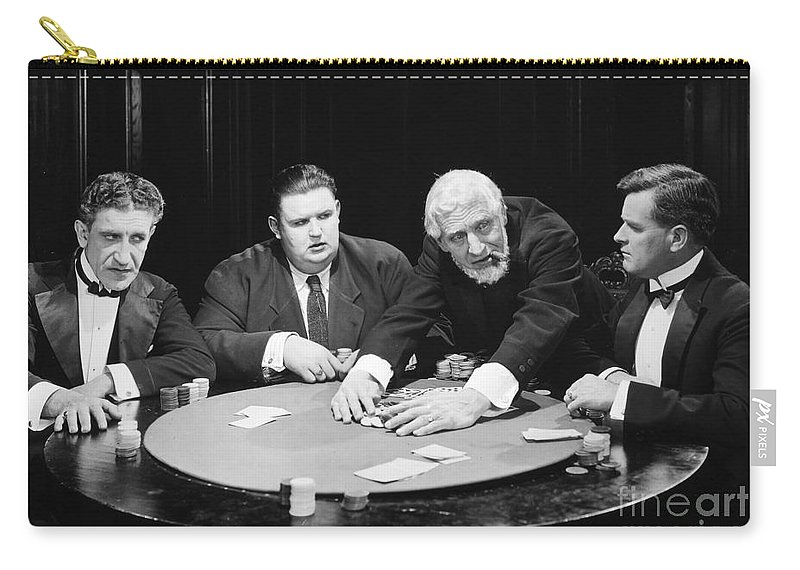 -gaming & Gambling- Carry-all Pouch featuring the photograph Silent Film Still: Gambling by Granger