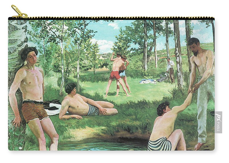 Summer Scene Carry-all Pouch featuring the painting Summer Scene by Frederic Bazille