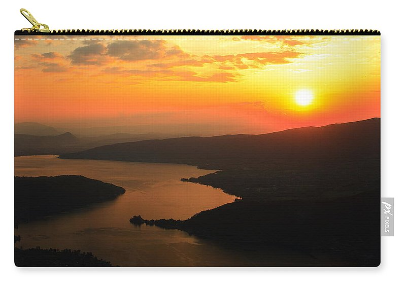 Sunset Carry-all Pouch featuring the digital art Sunset 4 by Maye Loeser