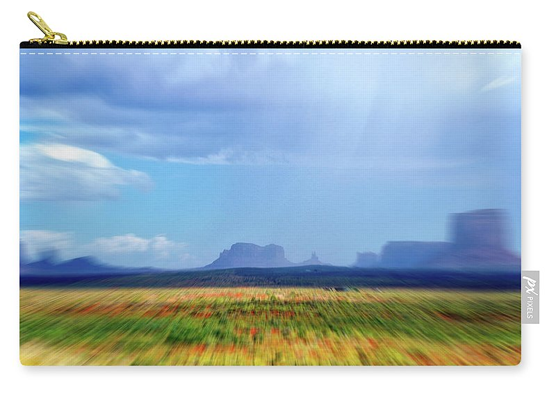 Monument Valley Carry-all Pouch featuring the mixed media 4 Wheeling With The Storm Cell Approaching Monument Valley 06 4 by Thomas Woolworth