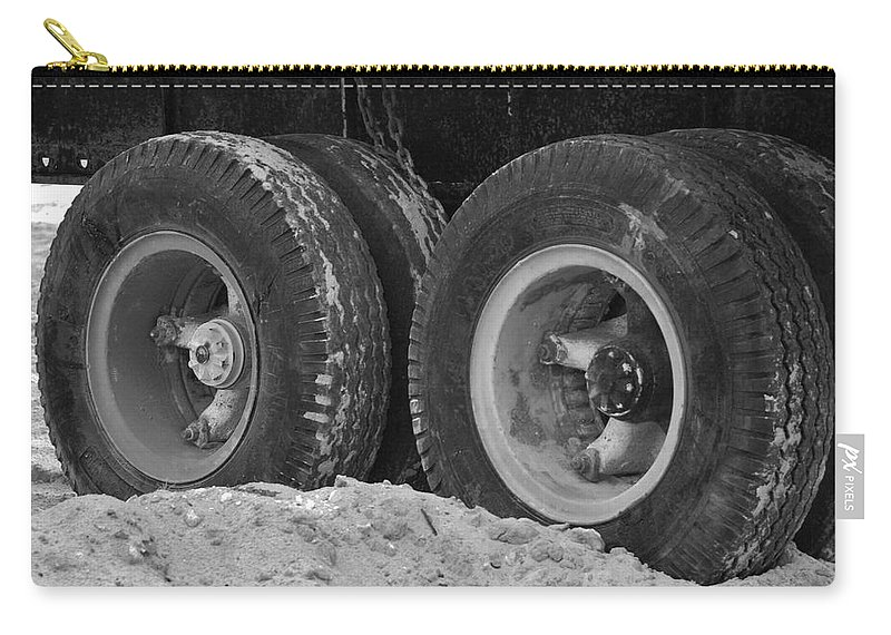 Black And White Carry-all Pouch featuring the photograph 4 Wheels And Sand by Rob Hans