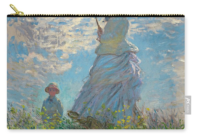 Woman With A Parasol Carry-all Pouch featuring the painting Woman With A Parasol - Madame Monet And Her Son by Claude Monet