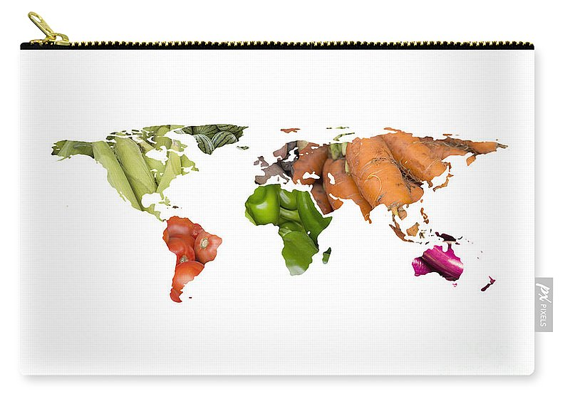 World Carry-all Pouch featuring the photograph World Fruits Vegetables Map by Ezume Images