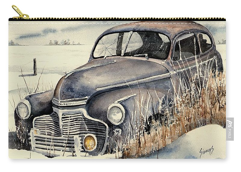 Auto Carry-all Pouch featuring the painting 40 Chevy by Sam Sidders