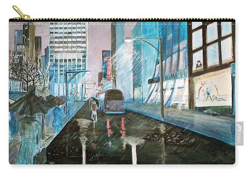 Street Scape Carry-all Pouch featuring the painting 42nd Street Blue by Steve Karol