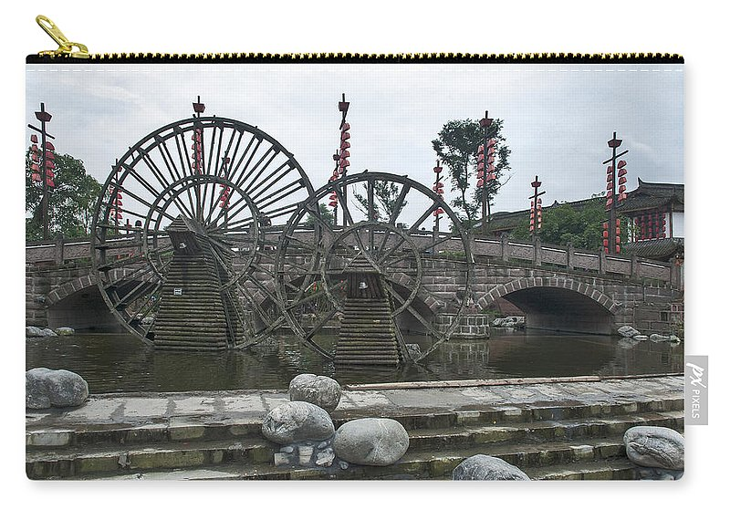 Asia Carry-all Pouch featuring the photograph 4357- Water Wheels by David Lange