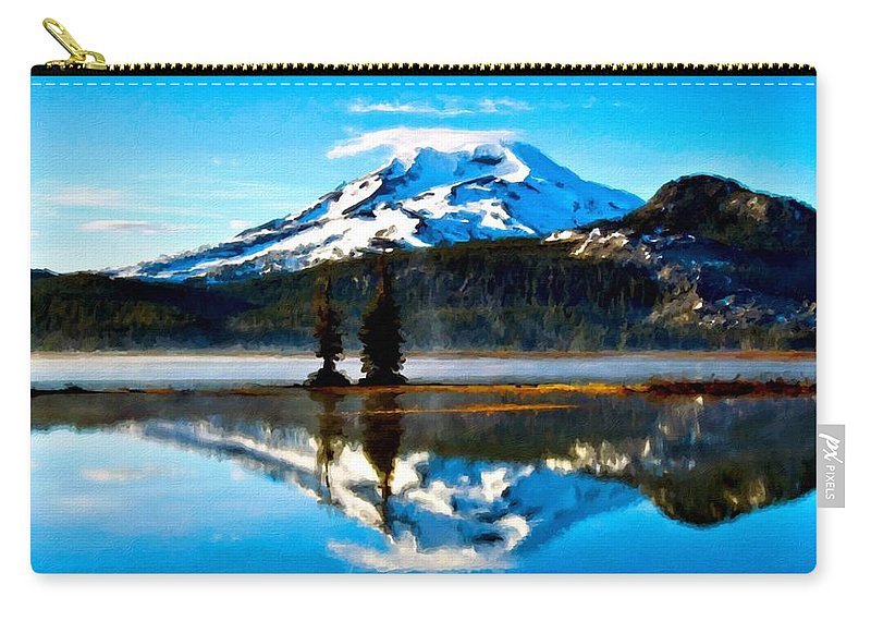Art Carry-all Pouch featuring the digital art Landscape Oil Painting by Usa Map