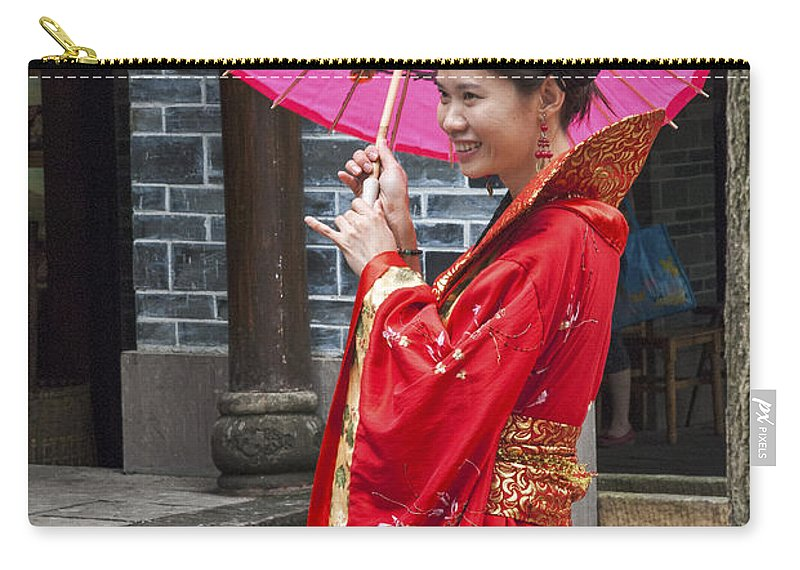 Asia Carry-all Pouch featuring the photograph 4503- Girl With Umbrella by David Lange